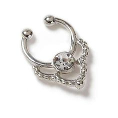 Miss Selfridge Rhinestone Fake Nose Ring (465 THB) ❤ liked on Polyvore featuring jewelry, silver color, artificial jewelry, artificial jewellery, imitation jewelry, silvertone jewelry and imitation jewellery
