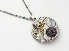 Steampunk Necklace Waltham Sapphire pocket watch movement silver pendant purple crystal statement necklace Steampunk Jewelry #SteampunkNecklace  #SteampunkJewelry #SteampunkJewelrybyMariaSparks