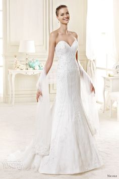 nicole spose bridal 2015 style 26 niab15103iv strapless sweetheart trumpet wedding dress