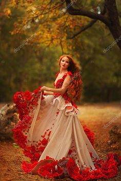 Beautiful girl with red hair in an elegant dress in the autumn park - by Olena Kucher, Ukraine Quinceanera Photography, Girls With Red Hair, Fairytale Dress, Fantasy Dress, Prom Dresses, Wedding Dresses, Beautiful Gowns, Dream Dress, Pretty Dresses