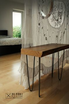 cute bedside table, oak and steel Bloski design