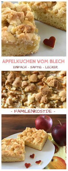 Apfelkuchen vom Blech mit Streuseln (einfaches Rezept)Simple recipe for apple pie from the tin with sprinkles. This sheet cake with apples and batter is wonderfully juicy and stays fresh for a long time. Here is the baking recipe: www. Apple Pie Recipes, Ice Cream Recipes, Baking Recipes, Cookie Recipes, Fall Desserts, No Bake Desserts, Dessert Recipes, Easy Smoothie Recipes, Pumpkin Spice Cupcakes