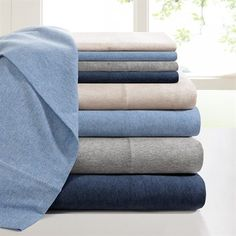 Made from 100% cotton, the jersey knit sheet set will remind you of the comfort of your favorite t-shirt. The sheet set features heathered colors for a relaxed casual look. It's soft, durable, and machine washable for easy care and is perfect for year round use. The fitted sheet fits up to a 16