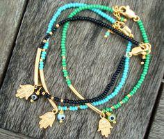 Evil Eye Beaded Hamsa Bracelet Friendship Bracelet por cocolocca
