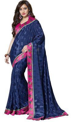 Blue Colour Jacquard Designer Party Wear Saree Buy Apparel