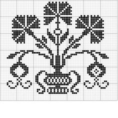Stylish carnation filet crochet pattern - could be used for cross stitch too Cross Stitch Heart, Cross Stitch Borders, Cross Stitch Samplers, Cross Stitch Flowers, Cross Stitch Designs, Cross Stitching, Cross Stitch Embroidery, Embroidery Patterns, Cross Stitch Patterns