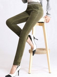 Popular High Waisted Corduroy Casual Pencil Pants For Women Elastic Leggings on buytrends.com
