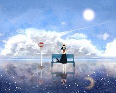 「昼と夜の境界線」by「黒田」のイラスト [pixiv] member ID:2241258