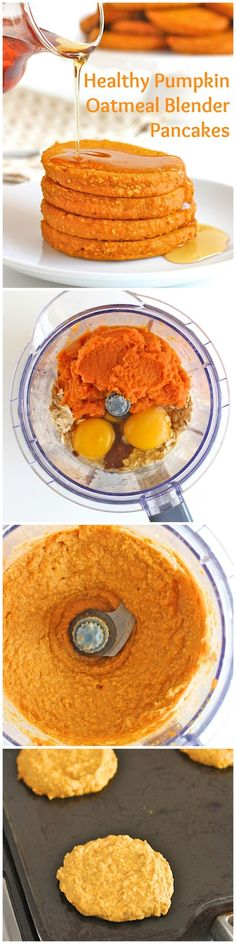 Healthy Breakfast Ideas : – Image : – Description Healthy Pumpkin Oatmeal Blender Pancakes -Read More – Sharing is power – Don't forget to share ! Baby Food Recipes, Fall Recipes, Cooking Recipes, Breakfast Desayunos, Breakfast Recipes, Breakfast Ideas, Healthy Snacks, Healthy Recipes, Ninja Blender Recipes