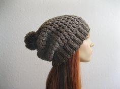 Crocheted Slouchy Beanie Hat Barley with Pompom by yarnmeditations