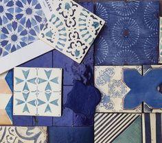 This summer, blue is the warmest color. Tabarka Studio's tiles in blue color palette