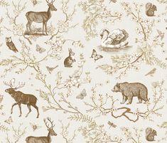 Spring Toile (Beige Custom1) fabric by nouveau_bohemian on Spoonflower - custom fabric