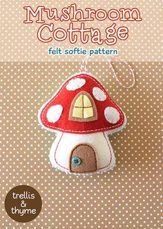 PDF Pattern - Mushroom Cottage Ornament Pattern, Christmas Felt Ornament Pattern, Autumn Felt Softie Sewing Pattern