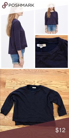 Madewell City Island Pullover Top A baggy Sweatshirt with cool cropped sleeves. Perfect Madewell basic. Size medium. In excellent condition. Feel free to ask any questions below or make me an offer! Retailed for $60 and sold out! Madewell Tops Tees - Long Sleeve