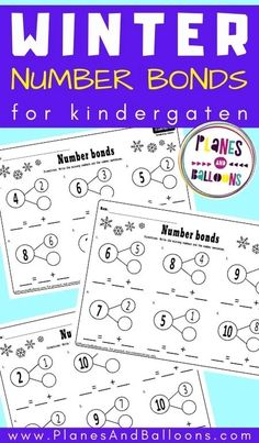 Free printable kindergarten math worksheets - decomposing numbers to 10 for number bonds practice in kindergarten and grade 1. #kindergarten #planesandballoons