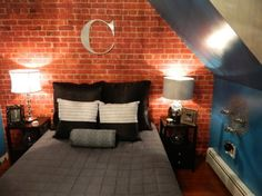 Brick Loft Apartment custom graffiti name personalized brick wall art bedroom wallpaper