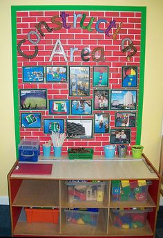 Construction Cool idea for a block station to show them what they can build and to post pics of cool things they or other students have built! Early Years Classroom, Preschool Classroom Layout, Preschool Displays, Teaching Displays, Teaching Ideas, Eyfs Classroom, Primary Classroom Displays, Class Displays, Early Years Displays