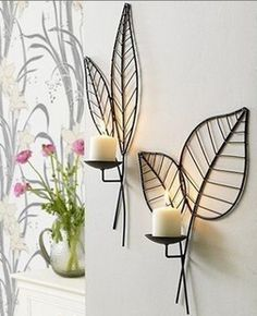 Candle holders wrought iron wall mousse wall candle rack quality Sconce home decoration New Interior Design, Home Design, Wrought Iron Decor, Wall Candle Holders, Wrought Iron Candle Holders, Candle Stand, Iron Furniture, Metal Wall Decor, Diy Wall