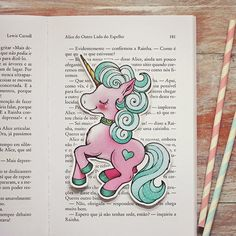 Merry Pink candy unicorn bookmark by ribonitachocolat on Etsy