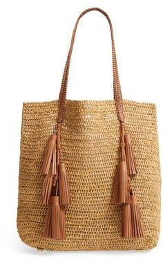 Michael Kors Skorpios Tassel Woven Staw Tote French Girl Style c5c26dcb09f1f