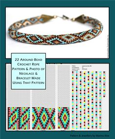 22 around bead crochet rope pattern and a photo showing what a necklace made using that pattern looks like. I did not create the pattern or jewellery. I simply put the two together as I find it useful to see the finished piece next to the pattern when cho Crochet Bracelet Pattern, Crochet Beaded Necklace, Bead Crochet Patterns, Bead Crochet Rope, Beaded Bracelet Patterns, Beading Patterns, Beaded Crochet, Embroidery Patterns, Diy Jewelry