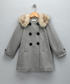 Gray Double-Breasted Coat - Toddler & Girls