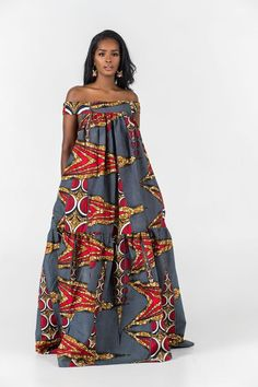 African Dresses Here at Grass-fields we have an awesome range of African dress designs. Whether you're after an African print maxi or midi dress, we've got something for you. African Fashion Ankara, Latest African Fashion Dresses, African Print Fashion, Africa Fashion, Latest Fashion, Long African Dresses, African Print Dresses, African Dress Designs, African Attire
