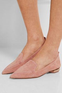 Sculpted gold heel measures approximately 20mm/ 1 inch Blush suede Slip on Designer color: Apricot Costa Made in Italy