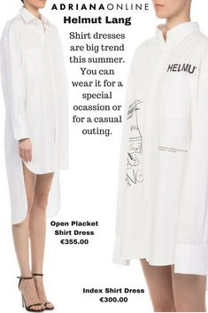 Shirt dresses are a perfect choice for summer days! Pick one from collection by Helmut Lang :) Pick One, Helmut Lang, Summer Days, Your Favorite, Style Fashion, Fashion Dresses, Shirt Dress, Coat, Casual