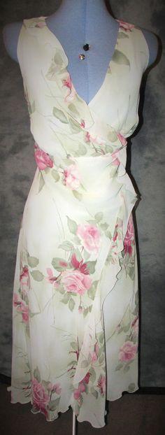 Bon Marche,ladies,size 14,green,pink,floral,v neck,sleeveless,Formal,Dress.