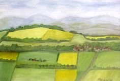 'Burgundy Fields' painted plein air in Champallement. Oil paint on linen paper