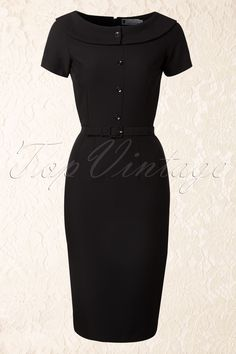 Daisy Dapper - 50s Joan Pencil Dress in Black