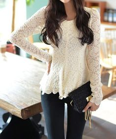 Ladylike Scoop Neck Flouncing Long Sleeves Lace Women's BlouseBlouses | RoseGal.com