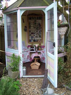 "The lady lair! This would be my answer to the ""man cave."" A cozy little place in the backyard I could knit, drink tea, and read in."