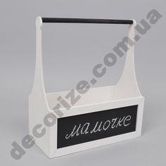 ящик для цветов с ручкой и меловой доской белый