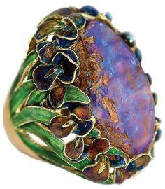 Van Gogh-inspired iris jewellery with opals and cloisonne / enamel work, by designer Ilgiz Fazulzyanov.  Source: viola.bz