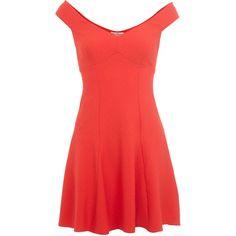 Miss Selfridge Red Bardot Dress ($29) ❤ liked on Polyvore featuring dresses, vestidos, black, black off shoulder dress, black off the shoulder dress, kohl dresses, miss selfridge dress and red dress