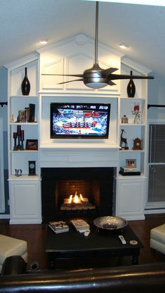 Fireplace with built ins and vaulted ceiling | Cathedral Ceiling Entertainment Center Built In Cathedral, Decor Ideas ...