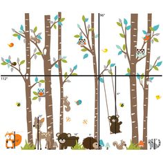 { Decal Kit Includes } *6 birch trees with leaves *6 Birds *3 Owls *3 Squirrels *2 Bumble Bees *2 Dragonflies *4 mushrooms *Deer *Swing *Fox *Raccoon *Hedgehog *2 Bears *Grass * step by step application instruction { Size } Sizes in second photo. { Choose Color } * choose your