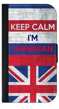 """Hawaii Flag-""""Keep Calm, I'm Hawaiin""""- Apple iPhone 7 PU Leather and Suede Wallet Style Phone Case Made in the USA. Quality Sturdy Wallet iPhone Case with Magnetic Flap Closure and 3 Inner Pockets for Storage; Compatible with the standard iPhone 7 phone model (Not the Compatible with the iPhone 7 Plus/7+). Quick Processing and Shipping! Satisfaction Guaranteed!. Vibrant Flat Printed Design; No Textured/3d/Metallic Print. Rosie Parker Inc.'s designs and images are registered with the United..."""