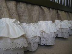 Burlap Ruffle Crib Skirt by CreativeCaterpillar on Etsy, $160.00 (and add burgundy/maroon stitching)