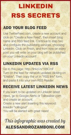 Linkedin Infographics about the RSS driven things you can do on this network!