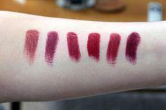 Revlon Fabulous Fig*, MAC Diva, NYX Black Cherry, NYX Snow White*, MAC Viva Glam I, Revlon Black Cherry.