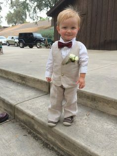 Baby makes the outfit.  Custom wedding suit in linen by ComfyFeely.  So Cute!