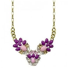 Chelsea Doll Violet Jewel Flower Trio Necklace