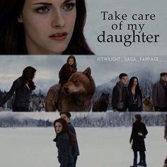 Take care of my daughter. Twilight Saga Books, Twilight Quotes, Twilight Pictures, Twilight Breaking Dawn, Breaking Dawn Part 2, Twilight Jacob And Renesmee, Mackenzie Foy, Strong Love, New Moon