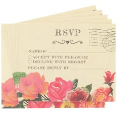 roses wedding rsvp cards - 10 pack from Paperchase