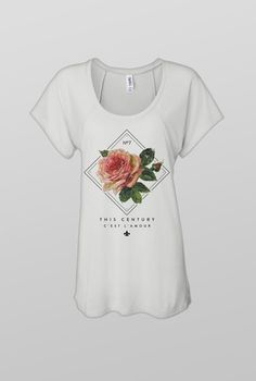 THIS CENTURY  ROSE SCOOP NECK TEE