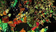 Microscopic view of a thin section of meteorite NWA 5480 (OLIVINE DIOGENITE) | by rocksandstones