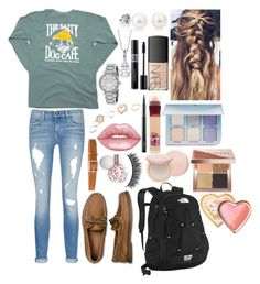 """School 52"" by ella-goodness on Polyvore featuring rag & bone/JEAN, Sperry, rag & bone, Lime Crime, The North Face, Maybelline, Too Faced Cosmetics, Anastasia Beverly Hills, Michael Kors and GUESS"